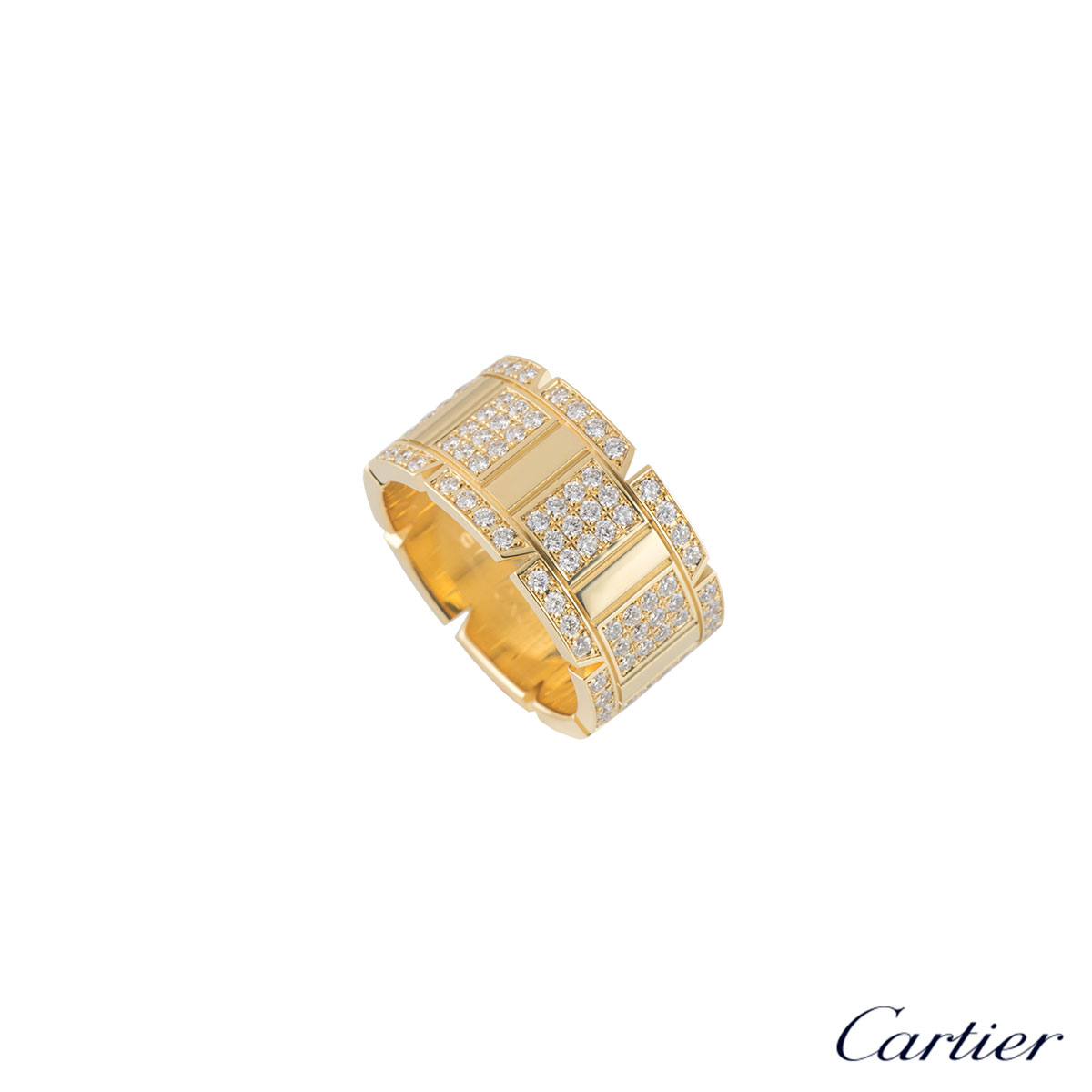 Cartier Yellow Gold Diamond Tank Francaise Ring